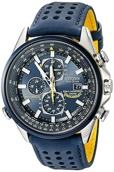 Amazon Com Citizen Mens Eco Drive Blue Angels World Chronograph Atomic Timekeeping Watch With Day Date At8020 03l Citizen Watches