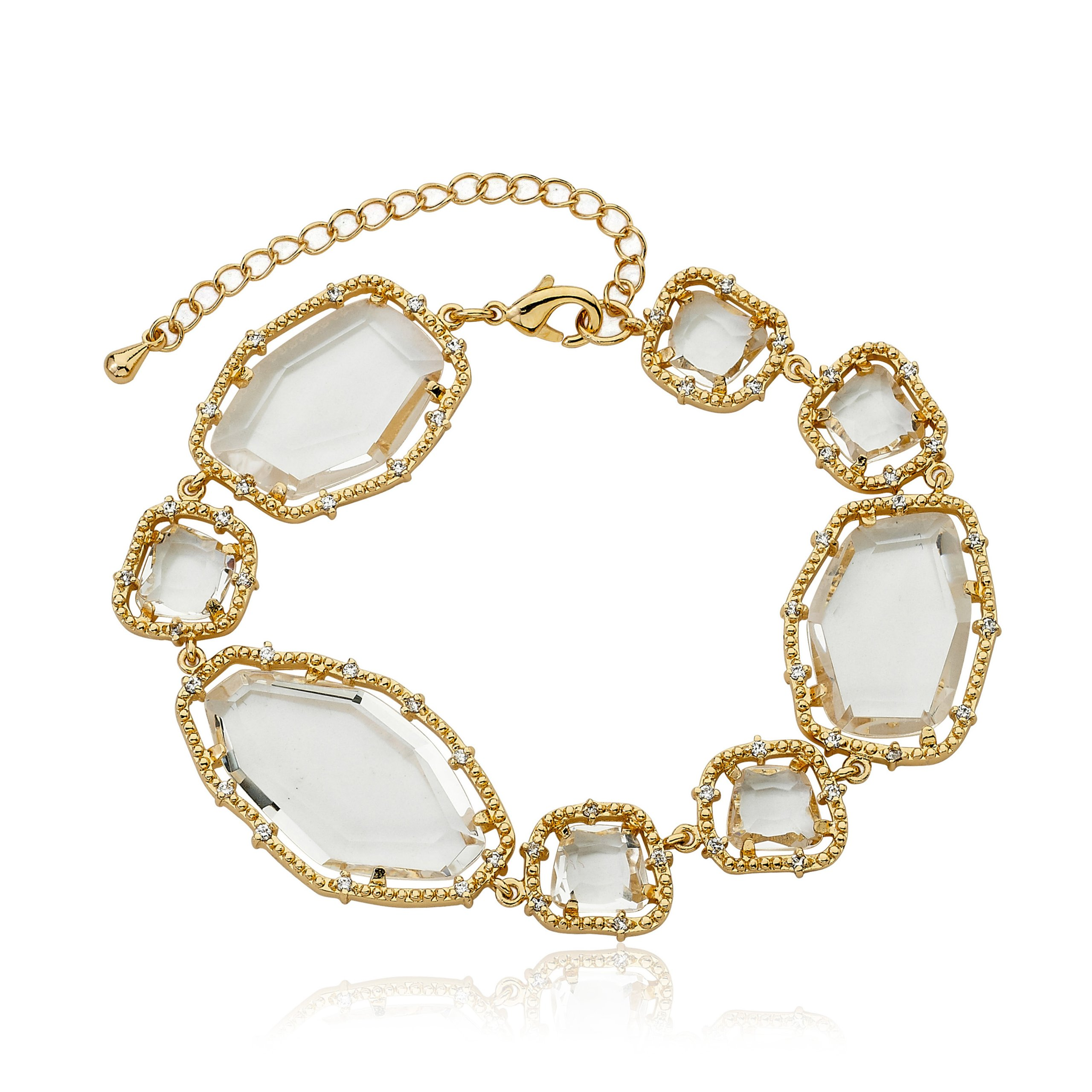 Riccova Sliced Glass 14k Gold-Plated CZ (Prong Setting) Clear Glass Sliced Stones Bracelet 7''/Ext. by Riccova