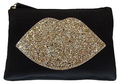 50d005634914 Lulu Guinness Pouch Purse Make-up Glitter Lips Bag Black Satin (Gold ...