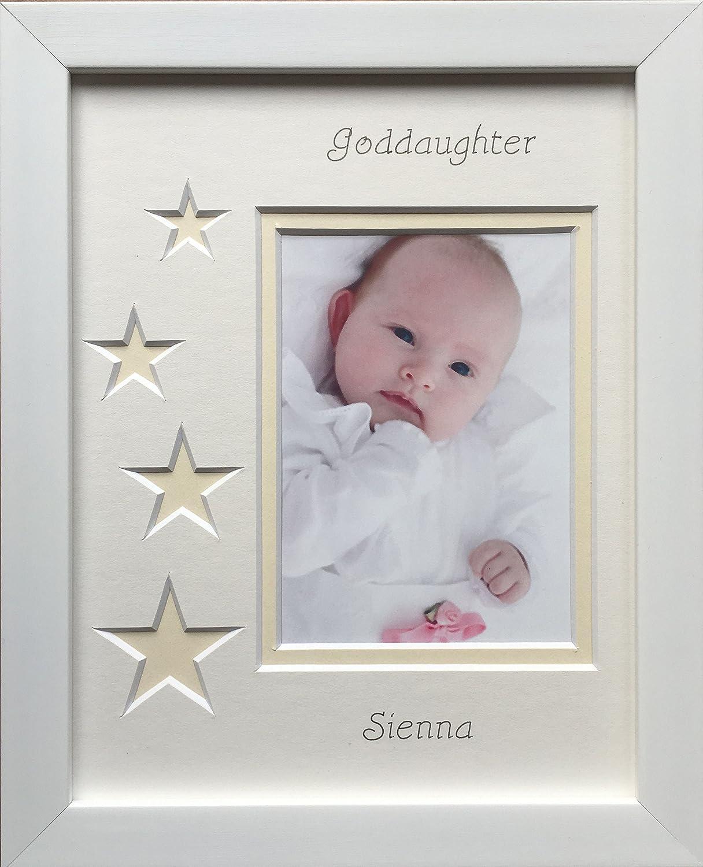 Personalised Goddaughter Photo Frame, 9 x 7 White (Pink Stars ...
