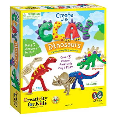 Creativity for Kids Create with Clay Dinosaurs - Build 3 Dinosaur Figures with Modeling Clay: Toys & Games
