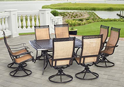 9 piece outdoor dining set square hanover manor piece outdoor dining set with large square table and eight swivel rockers amazoncom