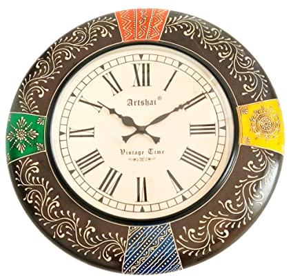 Buy Artshai 18 Inch Big Size Hand Painted Silent Wooden Wall Clock