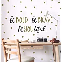Wall Decor - Inspirational Quote. Peel and Stick Wall Decals - Easy to Remove Black and Gold Vinyl Quote - Be Bold, Be…