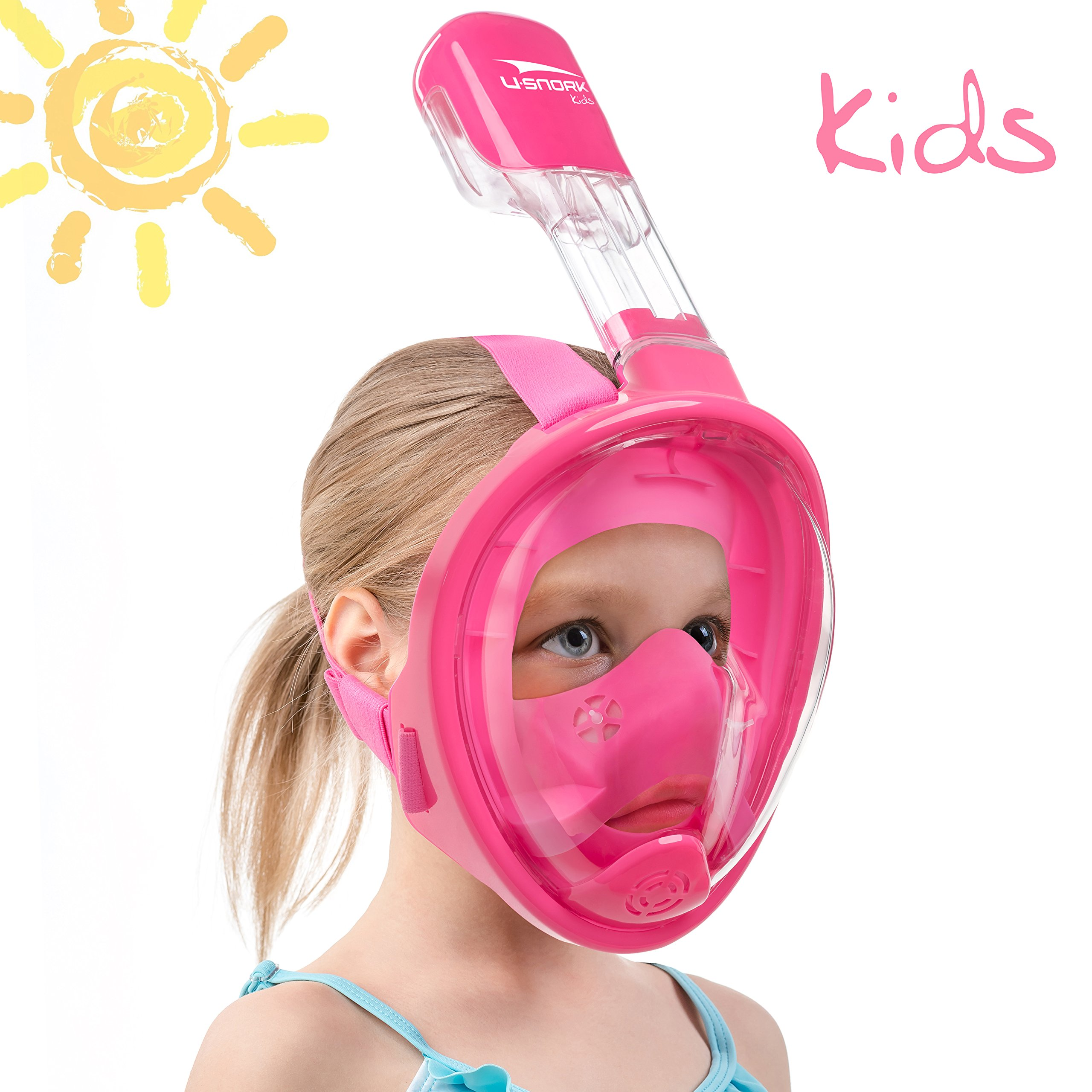 Usnork Full Face Snorkel Mask for Kids and Adults - Snorkel Set with 4 Bonus Items - Anti-Fog and Anti-Leak Easybreath Snorkeling Gear - Dive Scuba Mask with 180 Panoramic View (Pink Kids, X-Small)