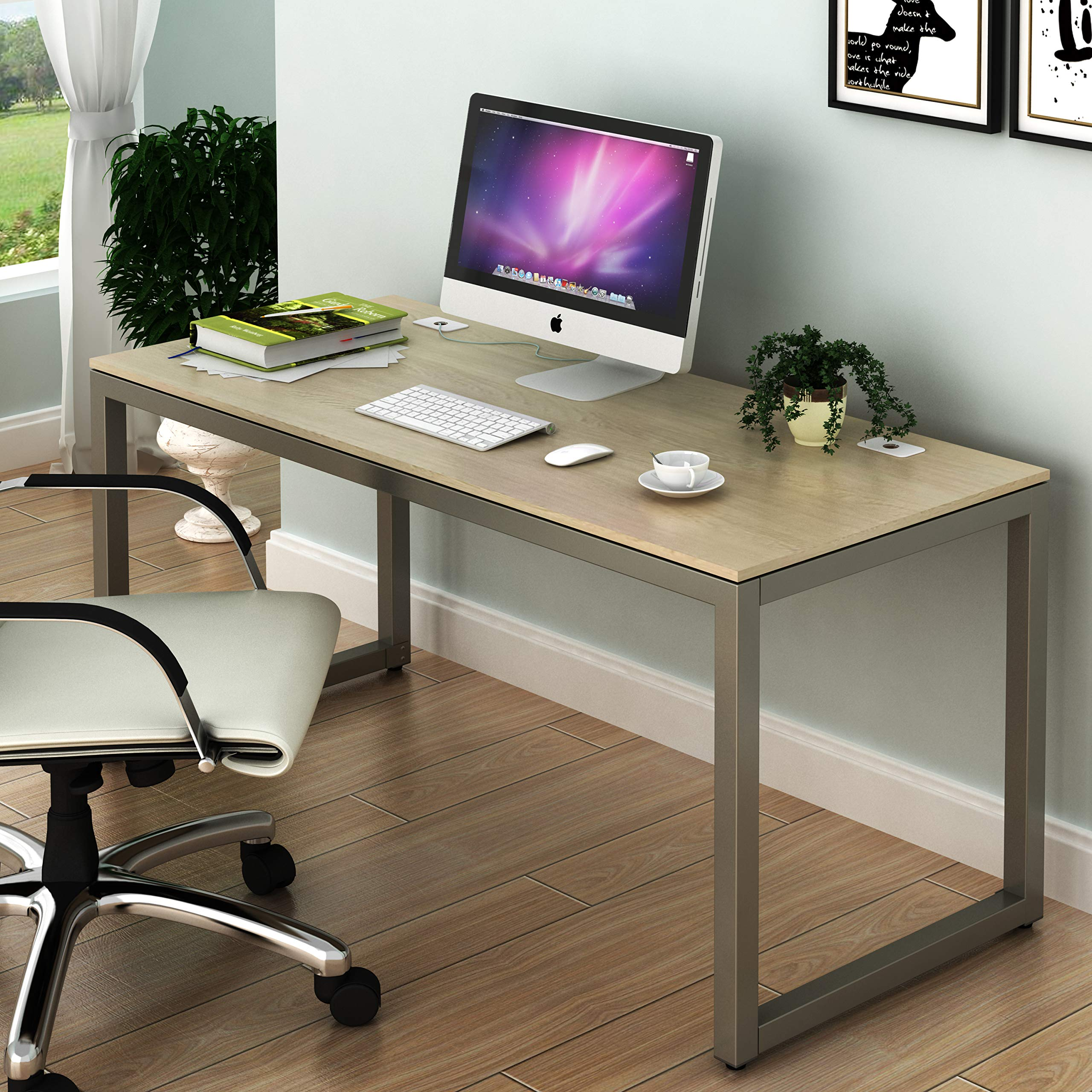 SHW Home Office 55-Inch Large Computer Desk, Silver Frame W/Grey Top by SHW