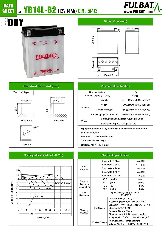 166 89 x Hauteur Batterie FULBAT YB14L-B2 12V 14Ah 190A Longueur mm 134 x Largeur