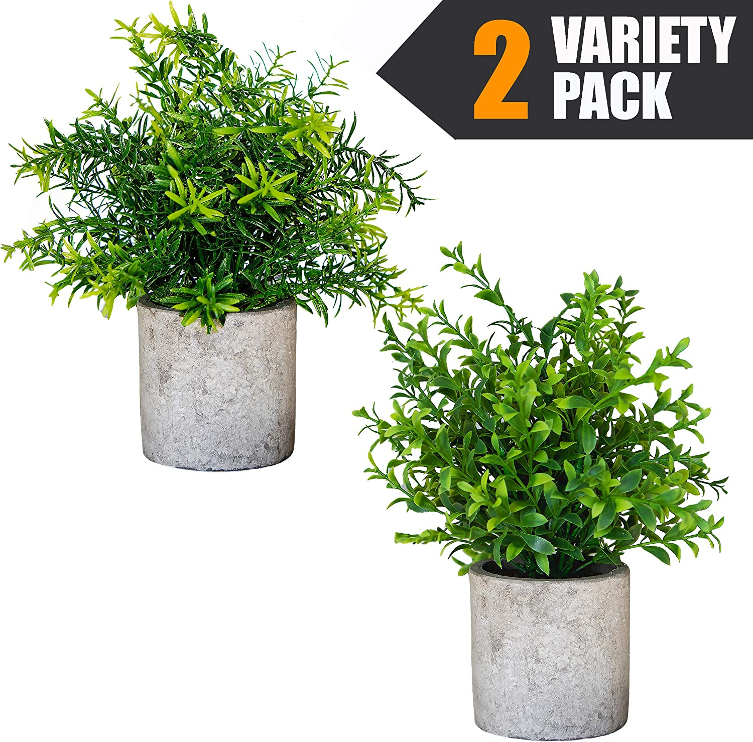 Small Artificial Plants in Pots For Home Decor Fake Faux Feaux Face Decorative Plant Decoration Arrangements Mini Artificial Potted Plants Greenery Decor Shelf Desk Office (Green Rosemary & Bamboo, 2)