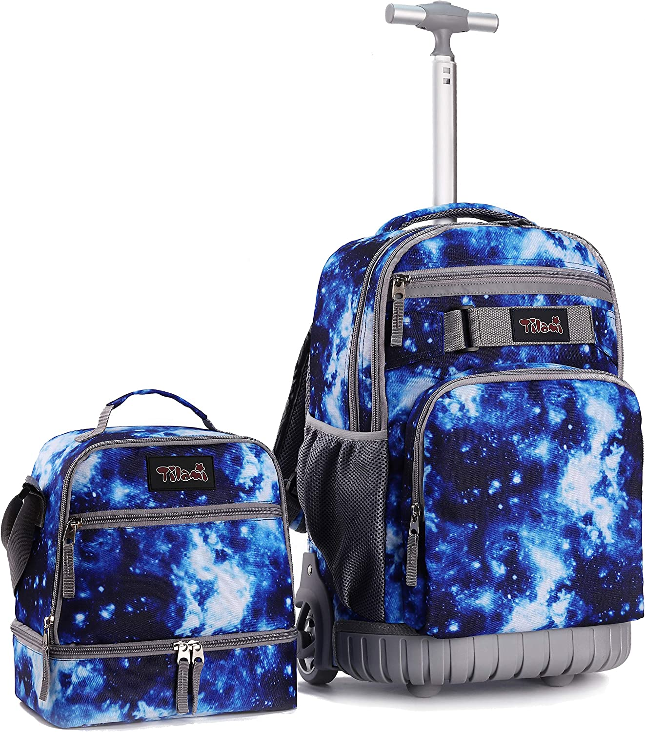 Tilami Rolling Backpack 19 inch with Lunch Bag Wheeled Laptop Backpack, Galaxy Blue