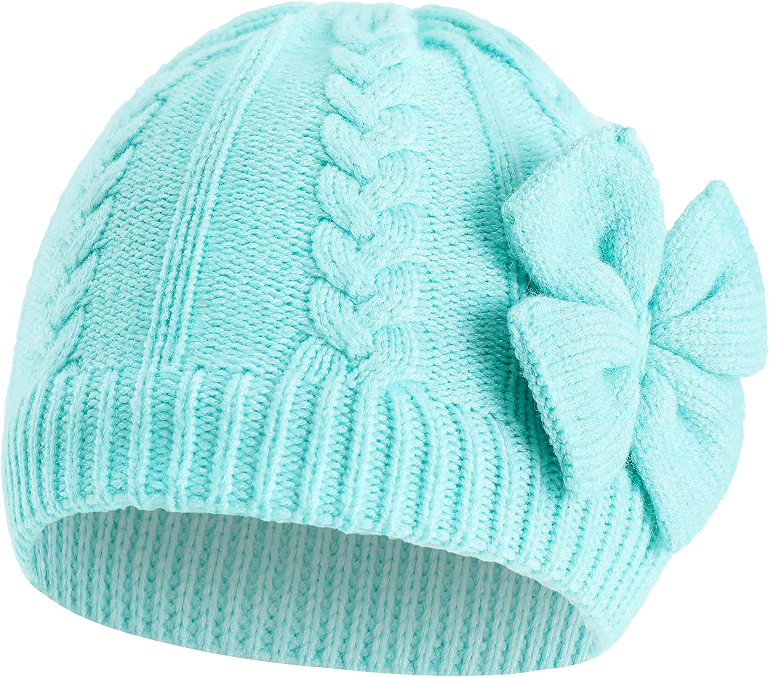 M, Pink Winter Warm Knitted Hat For Toddler Baby Girls Nice Solid Color Bow Sweater Cap Head Accessory Cap Hat
