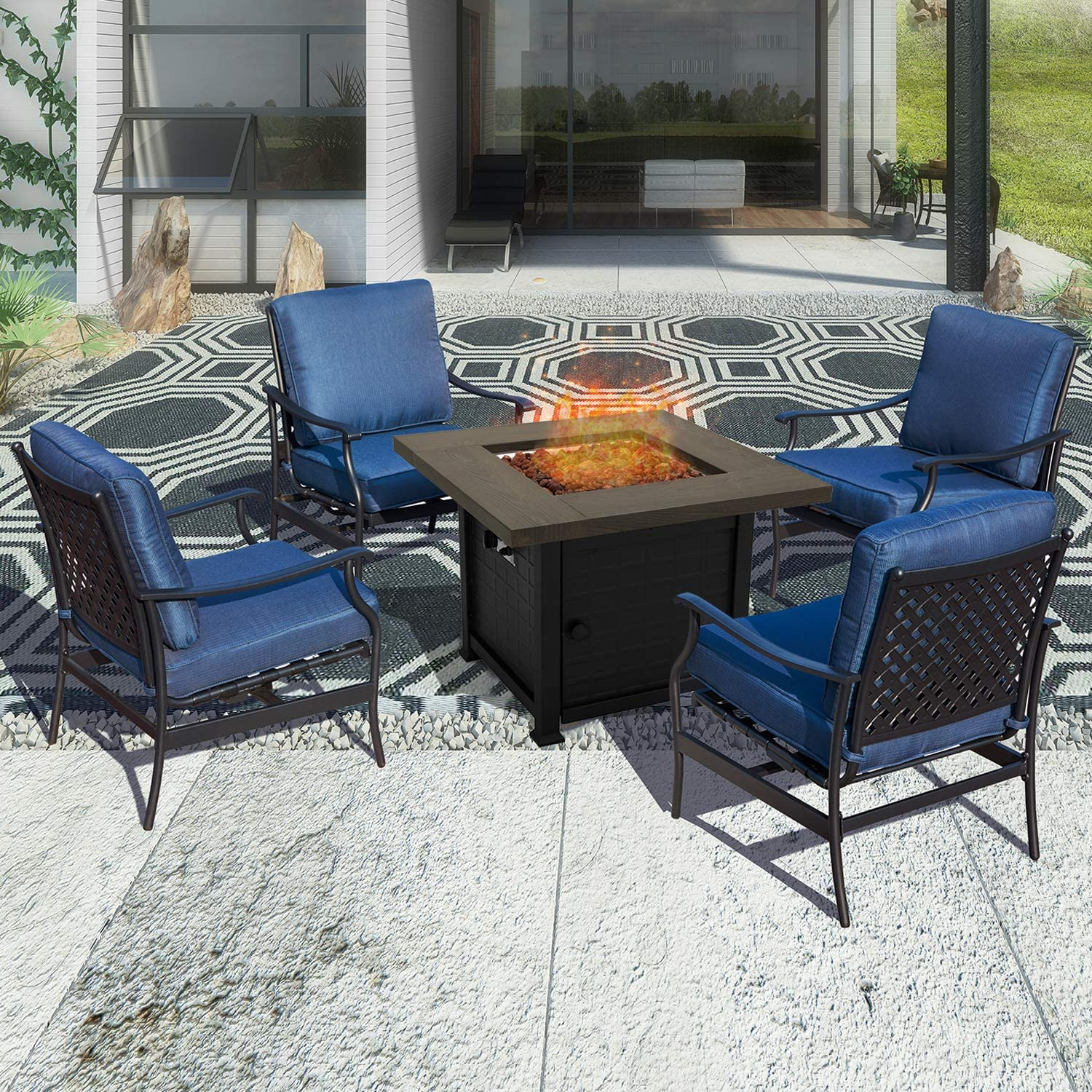 PatioFestival Outdoor Furniture Patio Conversation Set CSA Certification 50,000 BTU 33.9 Inch Propane Fire Pit Table Sets with Rocking Chairs (5 Pcs,Blue)
