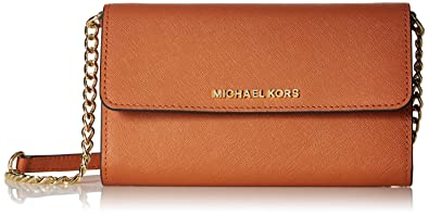7ad72a7bdb33 Image Unavailable. Image not available for. Color: Michael Kors Jet Set  Travel Orange Crossbody Large Phone Bag Leather NEW