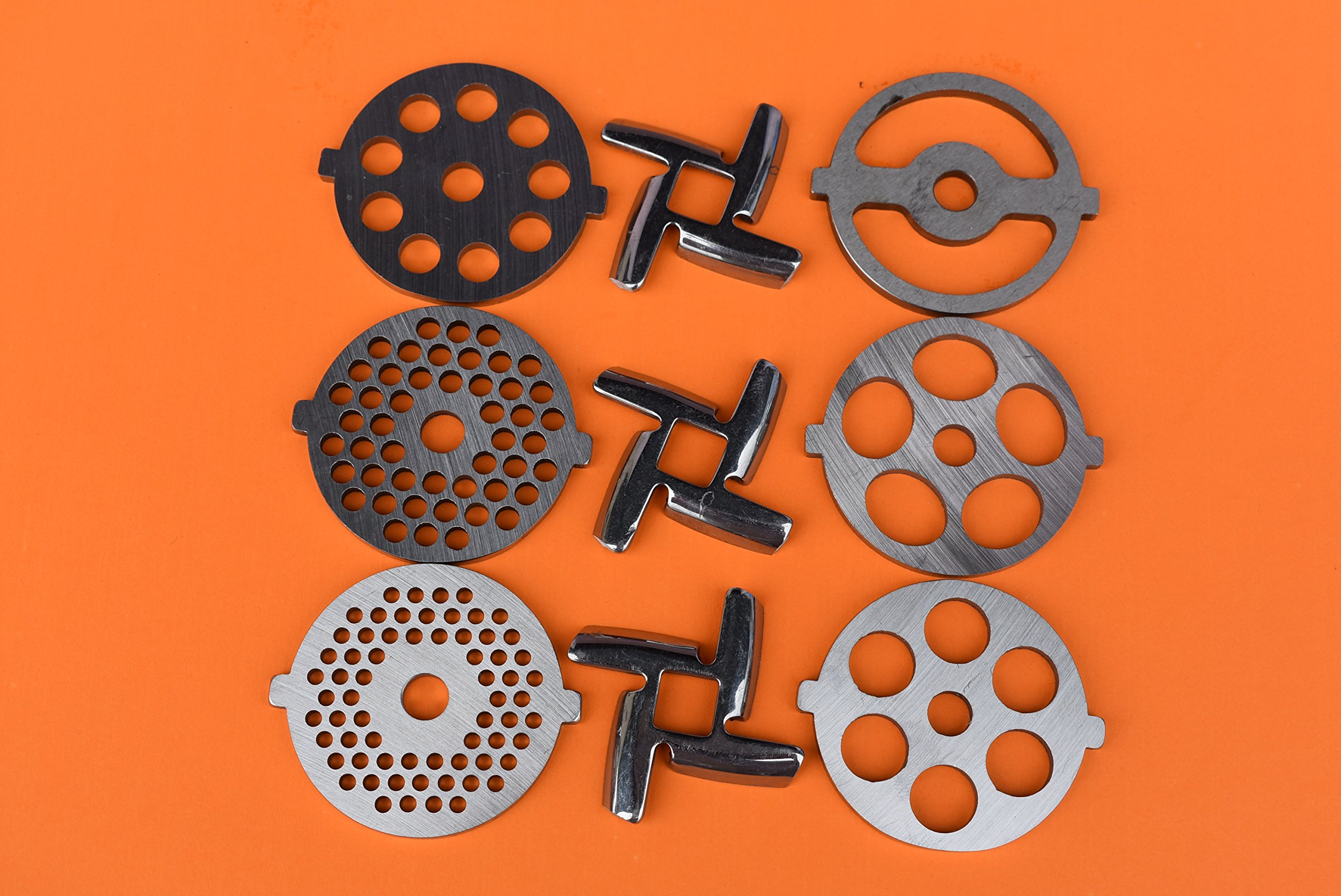 9 pc SET New Size Discs and NEW style Sharp blades for White Plastic Kitchenaid meat grinder food chopper. Custom made to fit the FGA 1 and FGA II