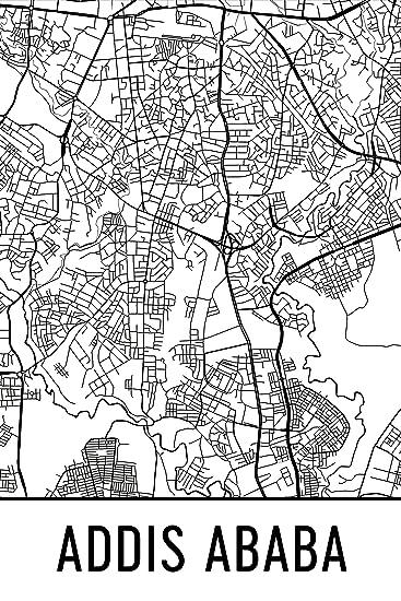 Amazon.com: Addis Ababa Print, Addis Ababa Art, Addis Ababa Map ...