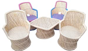 Ecowoodies Muscari Garden and Outdoor / Living Room / Terrace Cane Bamboo Chair Table Furniture Set ( 4 Chairs + 1 Table)