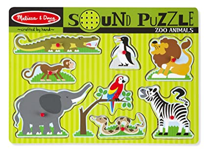 Amazon Com Melissa Doug Zoo Animals Sound Puzzle Wooden Peg
