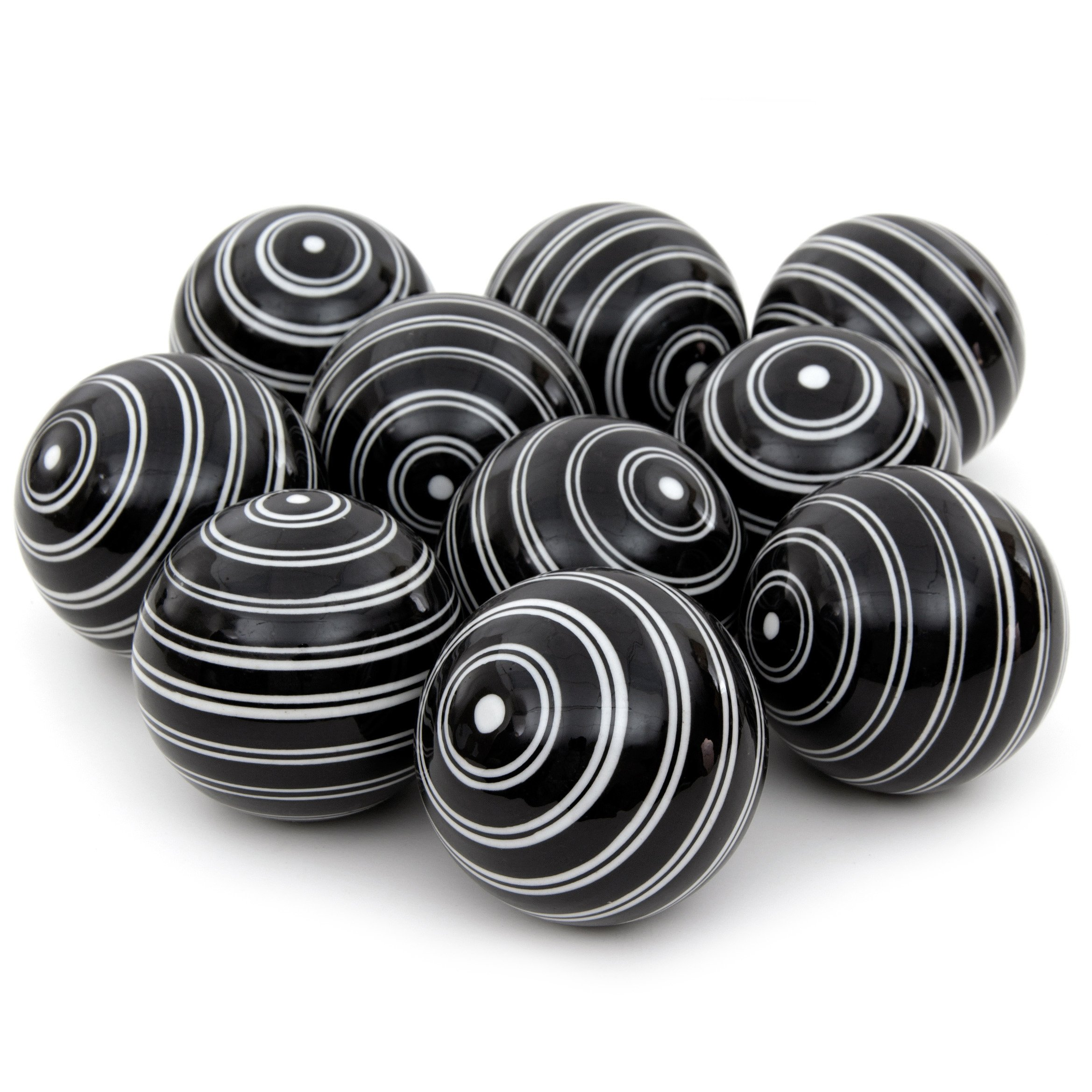 Oriental Furniture 3'' White Double Stripes Porcelain Ball Set