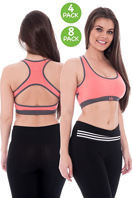 1b6fe9bfa4215 Amazon.com   Unique Styles 4 Pack Premium Racerback Sports Bras Removable  Pads 8 Pack Bra 0537 Pink Extra Large   Sports   Outdoors