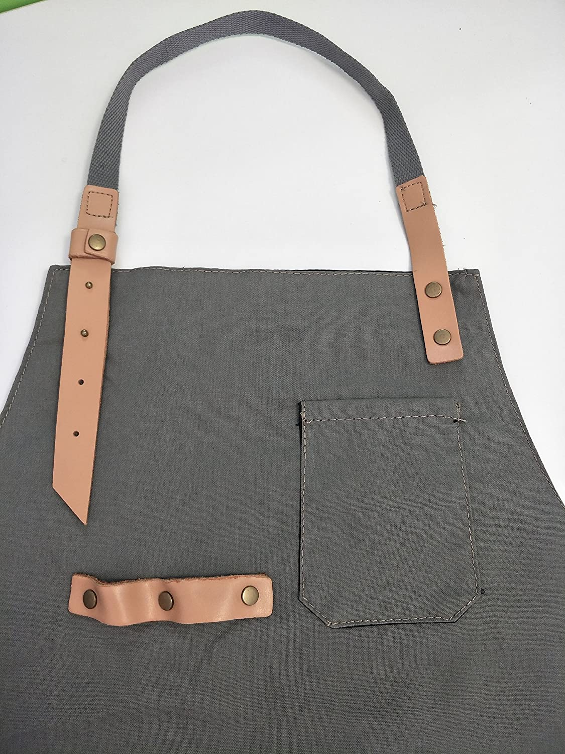 Luchuan 100/% Cotton Adjustable Work Aprons Chef Bibs Work Apron With Pockets for Women /& Man Gray