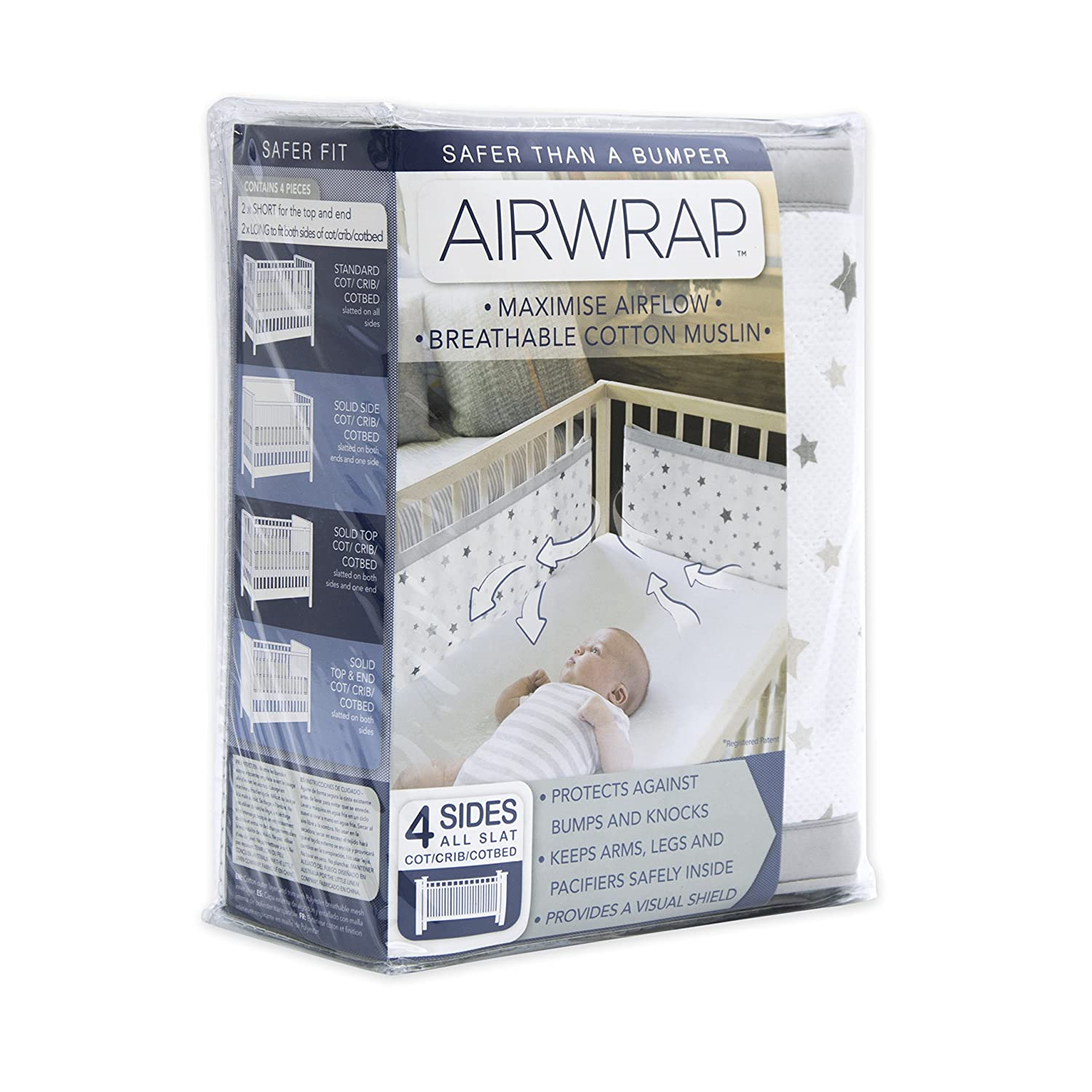 Airwrap 4 Sided Printed Breathable Cot Bumper Alternative Silver Stars 15-46-005