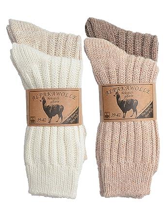 SPITZE SOCKS 4 Par de alpaca de lana calcetines para hombre & mujerEl Original de punta Calcetines con comodidad cintura, Dick & cálido, 3 de combinaciones ...