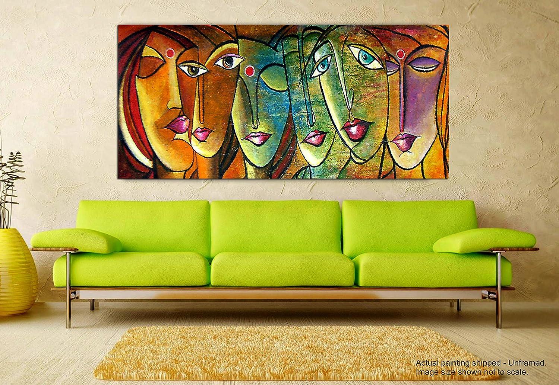 Tamatina Fabric Modern Art Canvas Faces of Life Abstract Large Wall ...