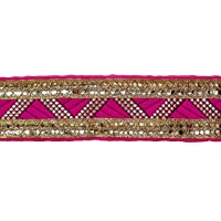 Zenith Two Line Gotta Patti Sequence Border for Dress/Sarees/Blouses/Suits 5.3cm*9mtr….(Pink Colour)