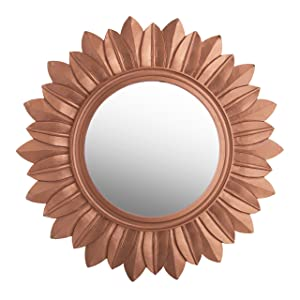 Homesake Sunburst Decorative Wooden Handcarved Wall Mirror,Rustic Copper