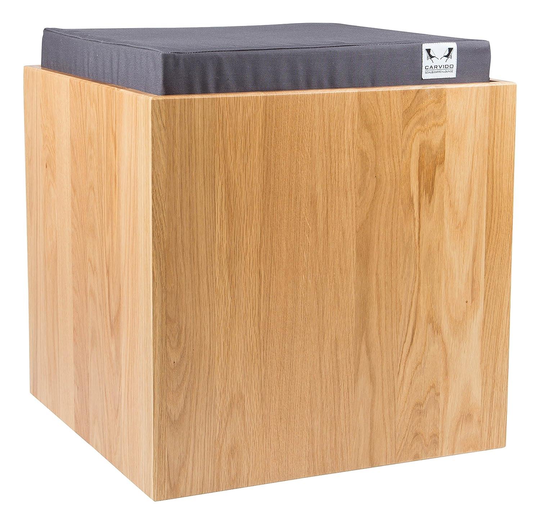 CARVIDO Design Hocker Eiche Massivholz gepolstert mit