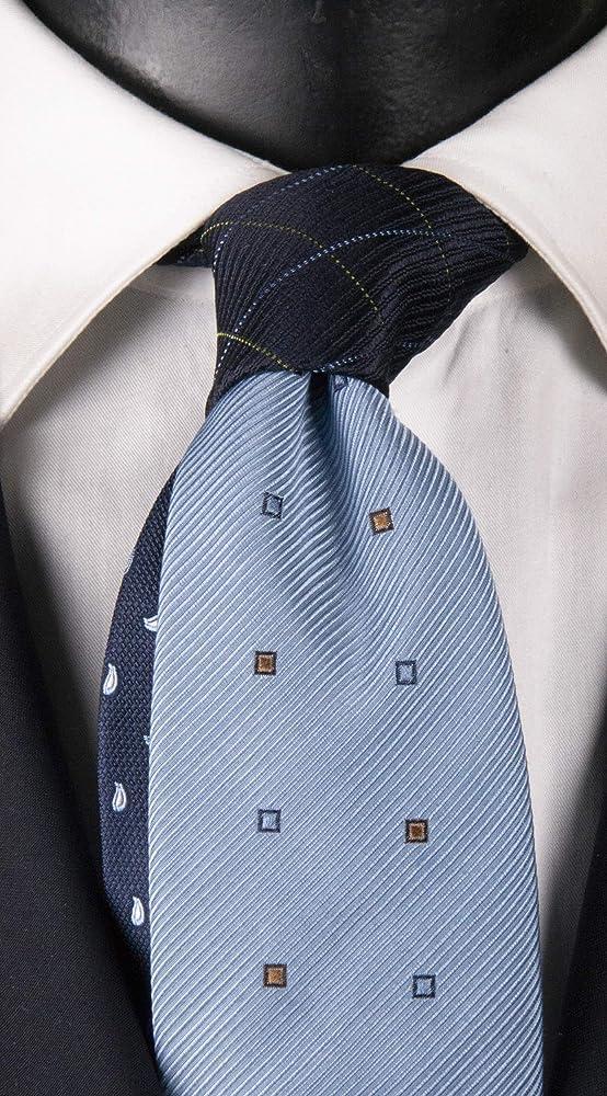 Corbata de hombre celeste con fantasía azul, marrón y celeste nudo ...
