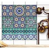 Stickers design piastrelle decorazione d´interni | Piastrelle adesive decorative piastrelle bagno - adesivo-cucina rivestimento cucina | 15x15 cm - Motivo Mosaico turco - Set 9 pezzi