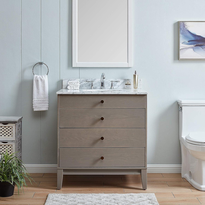 Amazon Com Modern Farmhouse Gray Stone 32 Inch Vanity Sink Grey White Wood Finish Kitchen Dining