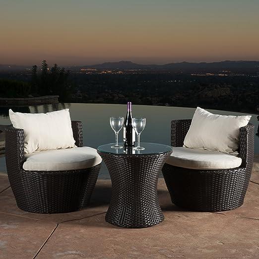 Amazon.com : Kyoto Outdoor Patio Furniture Brown Wicker 3 Piece Chat Set W/  Cushions : Garden U0026 Outdoor