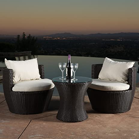 kyoto outdoor patio furniture brown wicker 3 piece chat set w cushions - Garden Furniture 3 Piece