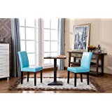 Roundhill Furniture Urban Style Solid Wood Leatherette Padded Parson Chair, Set of 2, Blue