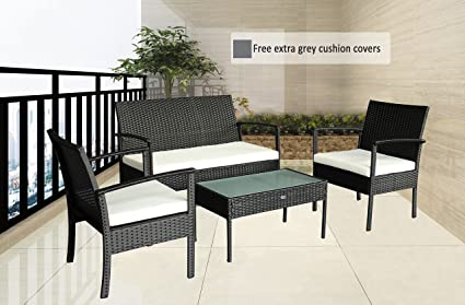 outdoor chairs patio furniture set balcony garden rattan small cheap furniture set grey cushioned w - Small Patio Set