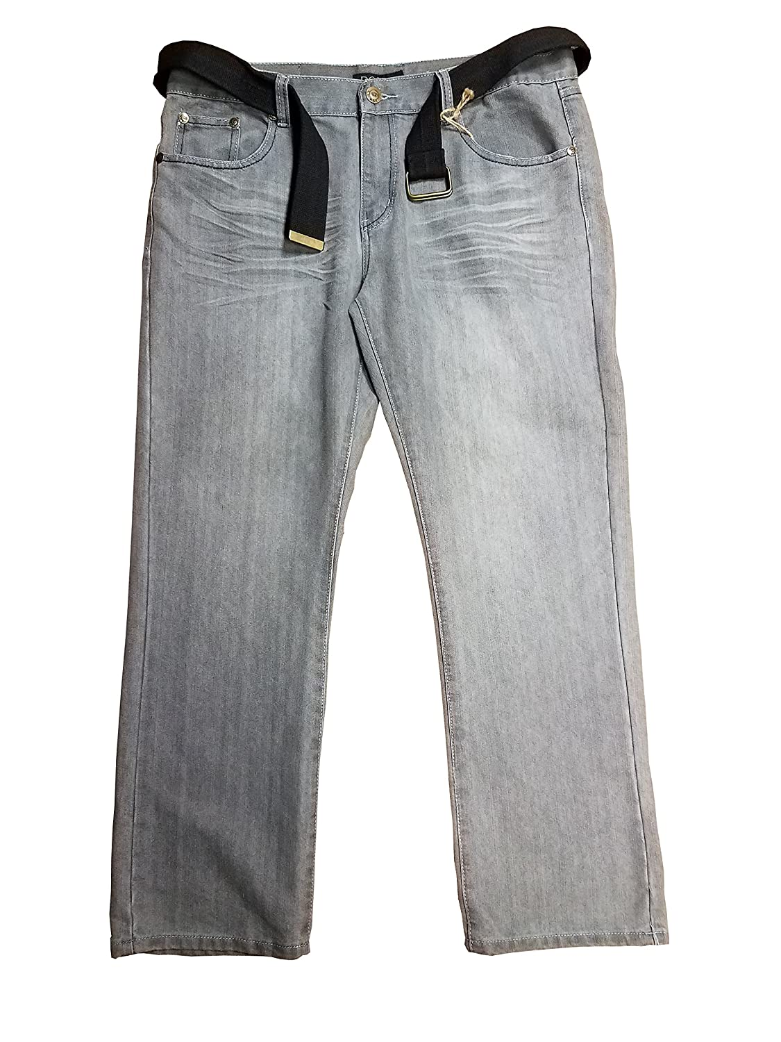 Mens Rok Gray Washed Jeans w// Black Belt