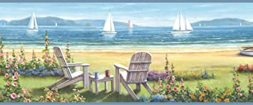 Chesapeake Dlr20021b Barnstable Blue Seaside Cottage Wallpaper Border Amazon Com