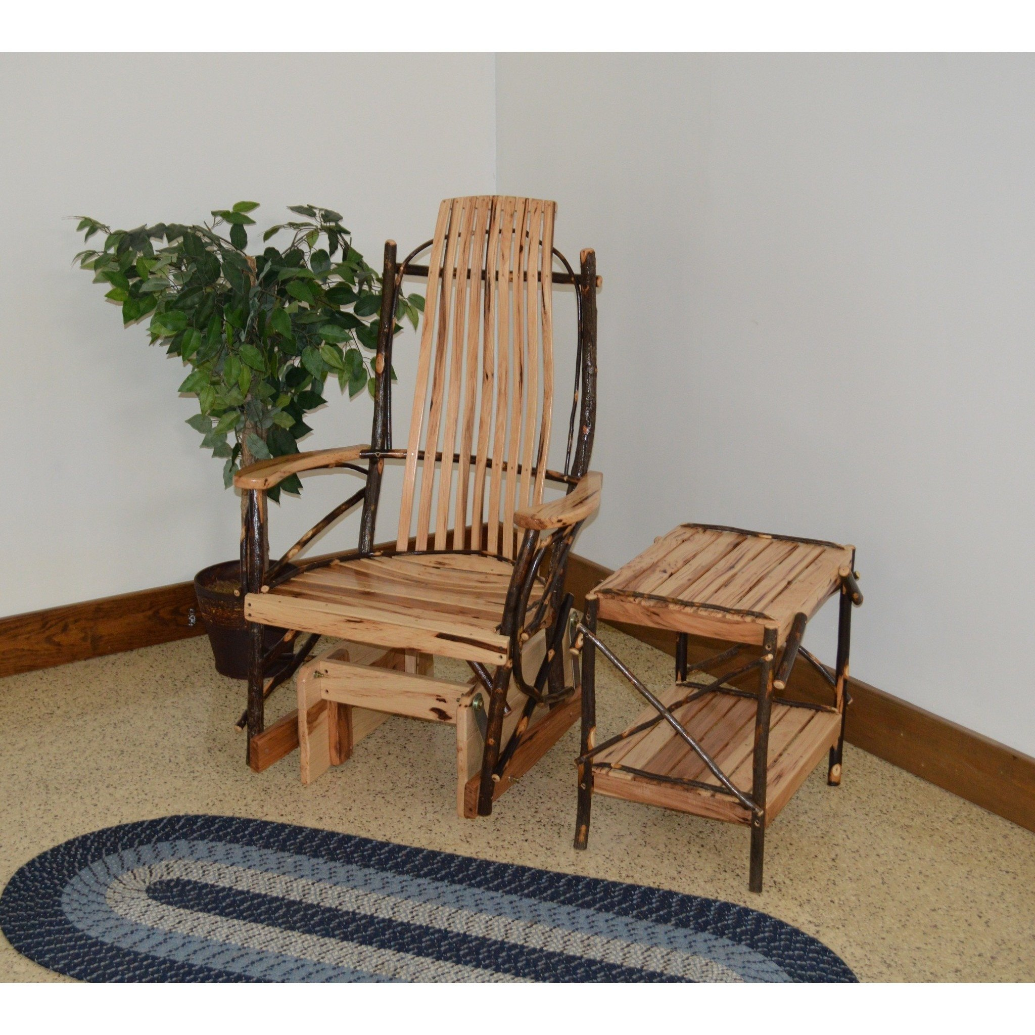 A&L Furniture Co. Hickory Glider Rocker with End Table Set