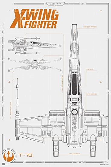 Amazon star wars the force awakens x wing fighter blueprint star wars the force awakens x wing fighter blueprint 24x36 poster malvernweather Gallery