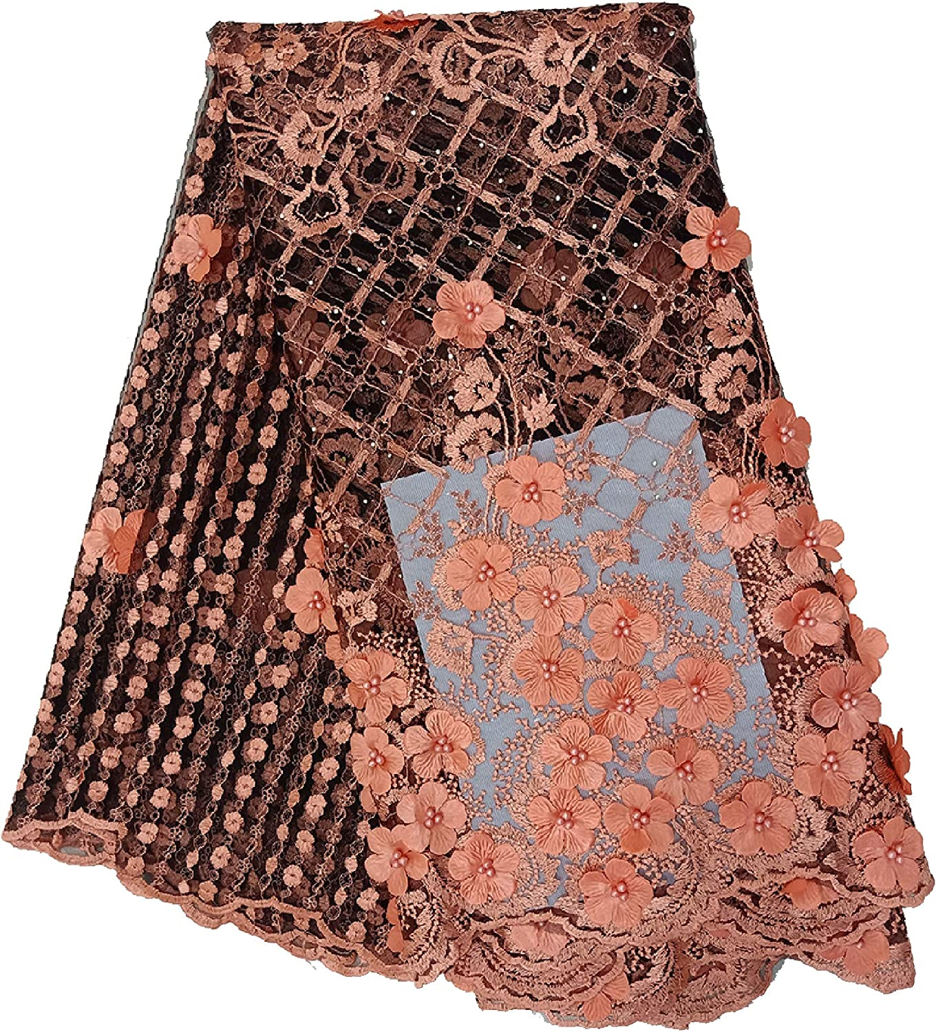 Blush Pink French Corded Flowers Embroider In A Design Mesh Lace Yard