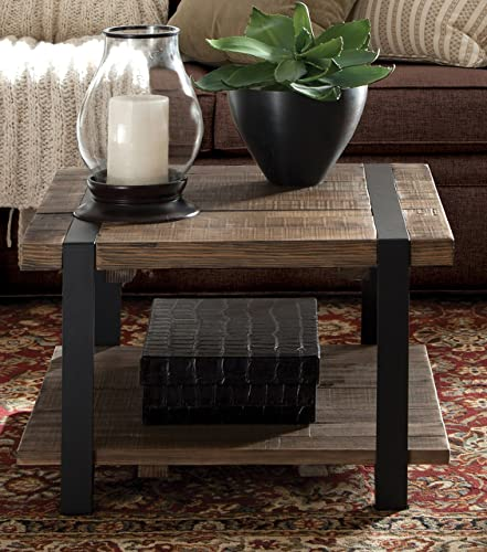 Stowe 27 Reclaimed Wood Square Coffee Table with Open Bottom Shelf, Natural Finish