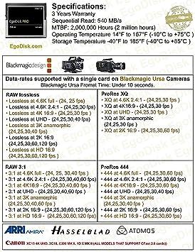 EgoDisk Pro 256GB Compact Flash Cfast 2 0 Card Perfect for BlackMagic Ursa  Mini ( Up to 520MB/s Read & 290 MB/s write )
