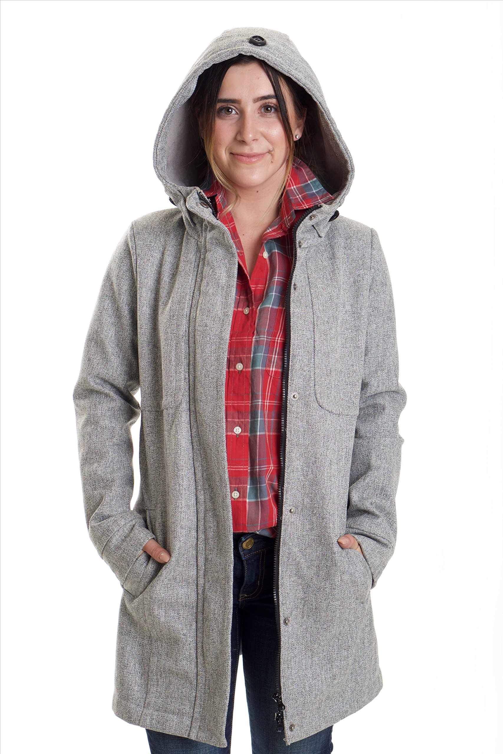 Kliq Women's Rigby Jacket Grey - Stroller Polyester Winter Wear with Front Zip and Button Closure - Large