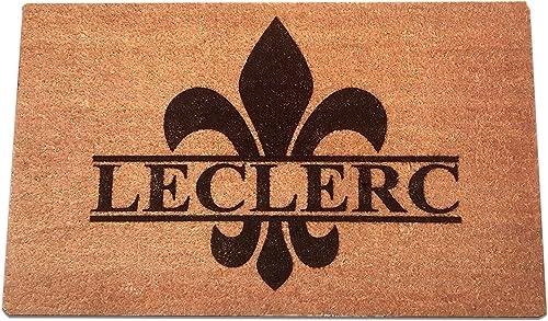 Fleur de Lis Personalized Laser Engraved Coir Fiber Welcome Doormat 30 x 18
