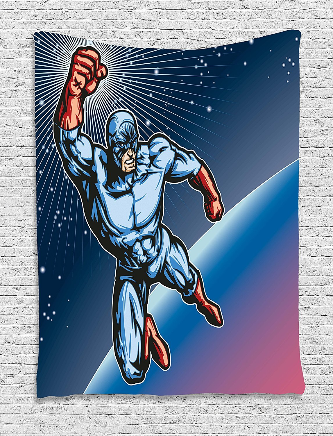 asddcdfdd Superhero Tapestry, Hero Man Floating on Space Adventure Save the Universe Punch Galaxy Image, Wall Hanging for Bedroom Living Room Dorm, 60 W X 80 L Inches, Night Blue Ruby