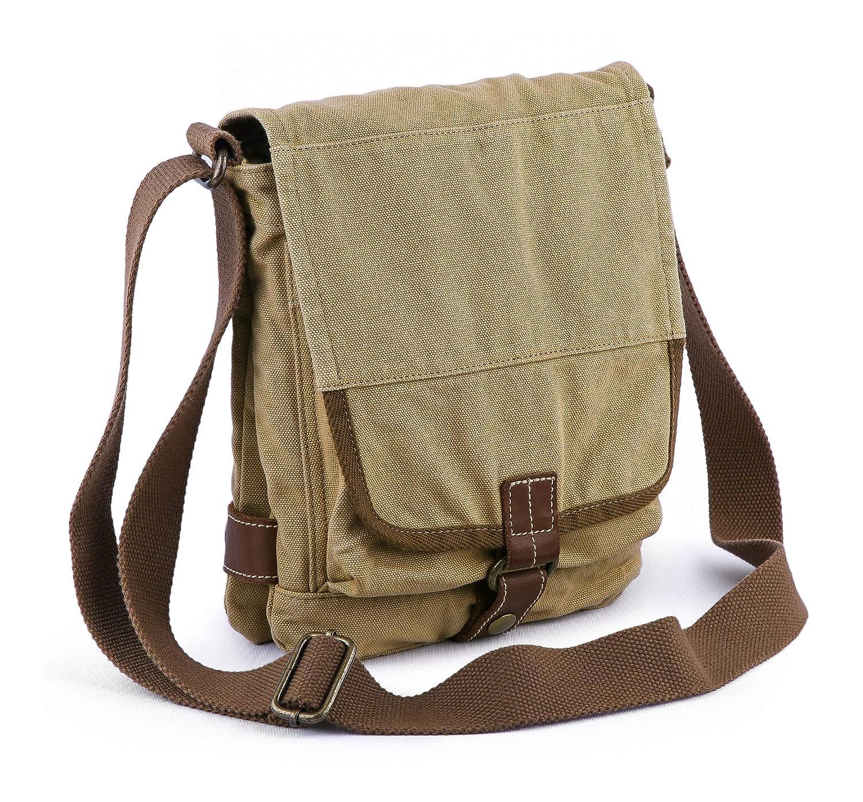 f7968a56a Amazon.com | Gootium Cotton Canvas Cross Body Small Messenger Bag Shoulder  Handbag, Khaki | Messenger Bags