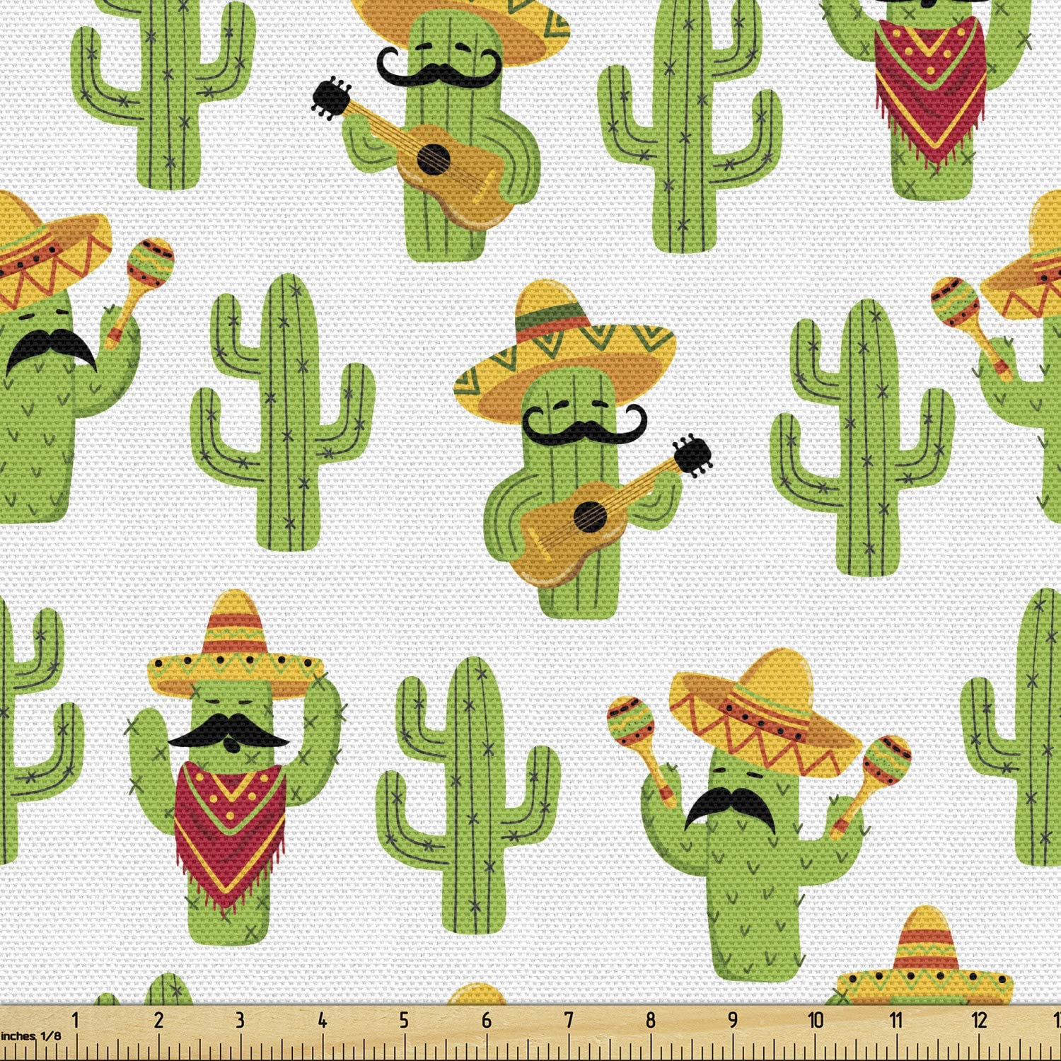 Ambesonne Cinco de Mayo Fabric by The Yard, Funny Mexican Cactus Characters, Decorative Fabric for Upholstery and Home Accents, 2 Yards, Lime Green