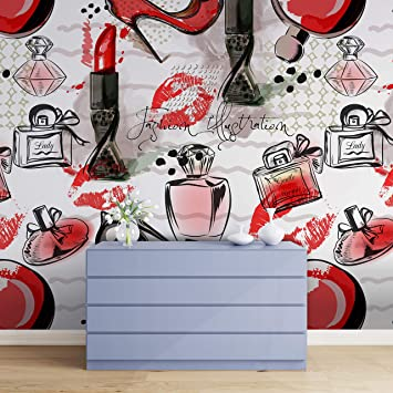 Buy Fashion Cosmetic Make Up Peel And Stick Wallpaper Removable Wall Mural 6214 9ft H X 16ft W Cosmetic Illustration Online At Low Prices In India Amazon In