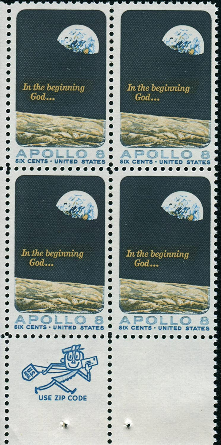 APOLLO 8 ~ FIRST HUMAN SPACE FLIGHT #1371 ZIP CODE BLOCK OF 4 X 6 US Postage Stamps